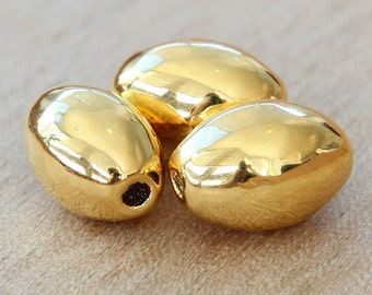 3 pcs Mykonos Ceramic Beads, 24K Gold Plated, 15x7mm Oval - eM714SOG