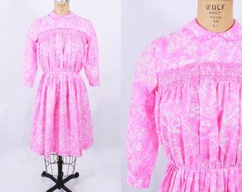 "ANNIVERSARY SALE // 1960s floral dress   pink white smocked teen size dress   vintage 60s dress   W 26"""
