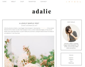 "Blogger Template Premade Blog Design - ""Adalie"" Blogger Theme White and Pink"