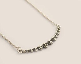 Silver Skull Necklace, Tiny Skulls Necklace, Sugar Skull Necklace, Silver Gothic Necklace, Oxidized Skull, Dia De Los Muertos, Skull Jewelry