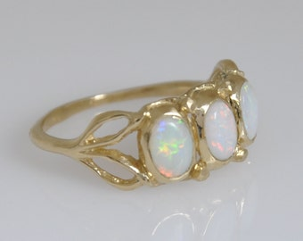 Opal Gemstone Ring , 3 Opal and Gold , 14k Solid Gold ,  Leaf Ring , Vintage Style Opal Ring , Handmade Jewelry , Dainty Gift for her