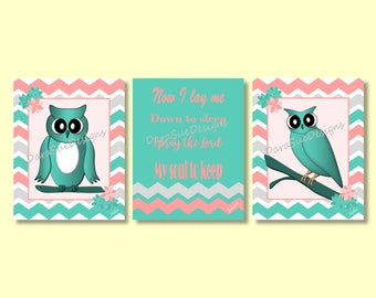Now I Lay Me Down to Sleep Owl Wall Art Decor for Kids Room or Baby Nursery, Bedtime Prayer Saying, Prints Only
