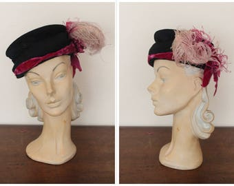 1940s Hat // Ostrich Feather Edythe Lawler Hat // vintage 40s hat