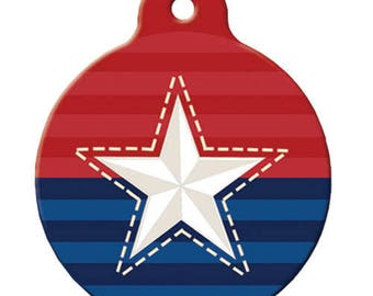 Patriotic Dog ID Tag, Stars & Stitches
