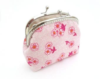 Pink flower frame purse with silver metal kiss lock bag, frame clasp pouch, frame clutch bag