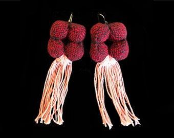 SERPENS Earrings - 14 k Gold filled Ear Wire - Traditional textiles (Red) - Natural Dyed cotton (cochineal)