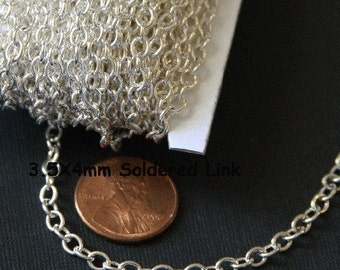 10 ft  of Silver plated round cable chain 4X5mm - Soldered Links