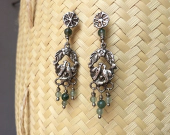 Antique silver 925 earrings with birds and flowers.