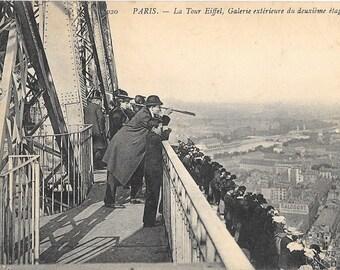 Paris, France,  La Tour Eiffel, Galerie Exterieure du Deuxieme Etage, Antique 1906 Used Postcard, by Neurdein et Cie