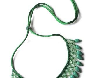 Green Art Glass Seed Bead Bib Corded Necklace - Hand Beaded