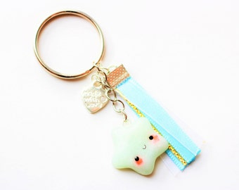 Keychain - star Pearly blue kawaii