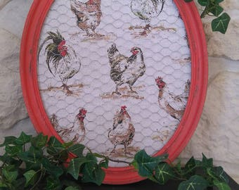 """oval frame """"hens and roosters"""" weathered old"""