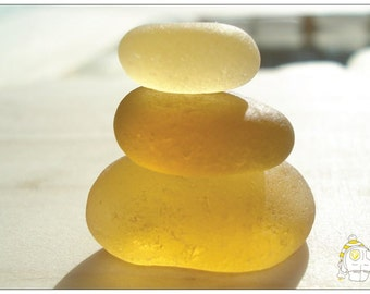 Back By Popular Demand - Yellow Stack of Sea Glass postcard - From Seaham England