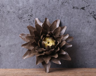 Lotus ceramic flower,Chinese traditional pottery Incense Holder Aroma Scent Burner Sculpture Figurine