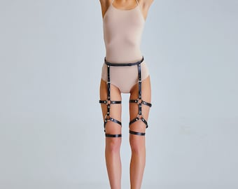 Leather leg harness, leather stockings, cage leather leg garter, leather waistband. Leather leg harness, leather stockings