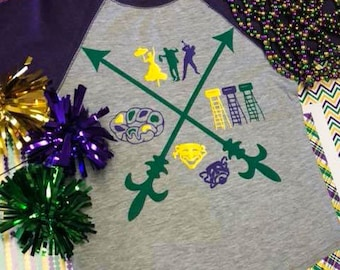 Mardi Gras Arrow Raglan
