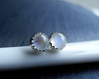 Moonstone Earring Studs, Moonstone Jewelry, Gemstone Earrings, Rainbow Moonstone Studs, Birthstone Jewelry, Sterling Silver Hypoallergenic
