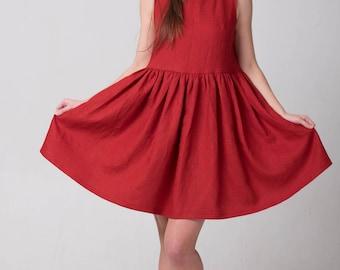 Red linen dress, Linen dress, Red linen, Maternity dress, Linen womens dress, Linen short dress, Linen clothing, Washed soft linen