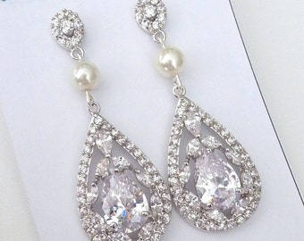 Bridal Earrings - White Gold Plated Big Fancy Peardrop Cubic Zirconia with Ivory Pearl Post Earrings