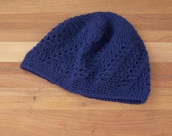 Crochet Kufi Hat - Lace Beanie - Skull Cap - Boho Beanie - Navy Blue Color