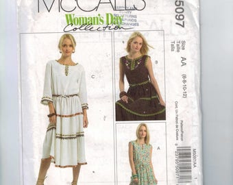 Misses Sewing Pattern McCalls M5097 5097 Misses Bohemian Dress Tiered Skirt Peasant Size 6 8 10 12 UNCUT