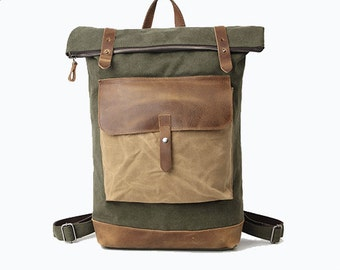 Vintage style Bedford Leather Canvas Backpack