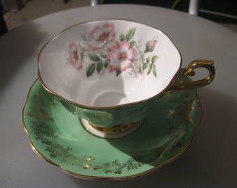 green and gold filigree royal albert tea cup and saucer