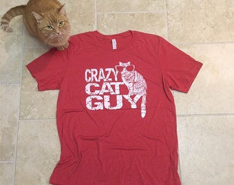 Cat gifts, Funny tees, mens tshirt, Cat shirt, Crazy Cat Guy, boyfriend gift, cat dad, cat lover gift, funny t-shirts, for him, cats, rctees