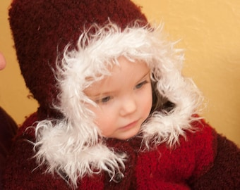 Red Fuzzy Sweater with White Trim 12 - 18 months