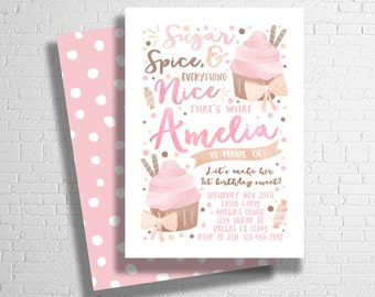 Sugar and spice etsy sugar and spice birthday invitation sugar and spice and everything nice sweet celebration filmwisefo Images