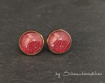 Earrings gold leaf Red