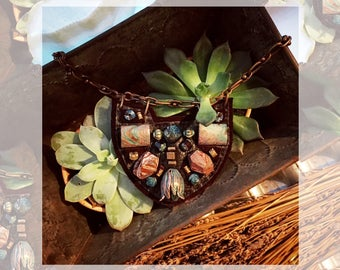The MINI SHIELD NECKLACE by Gilded-Mane: African Turquoise and Oxidized Brass Beads on Chocolate Leather, Small