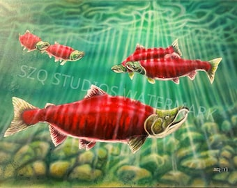 """Poster print 15×22 poster print from the original airbrush painting """"Resting Place: The Long Journey Home"""""""