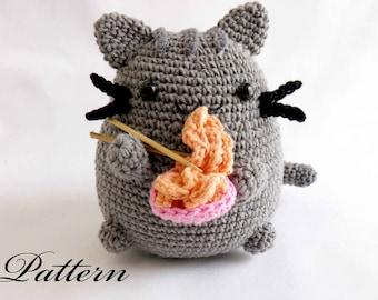 Pusheen eating ramen amigurumi PATTERN- pusheen cat crochet PATTERN