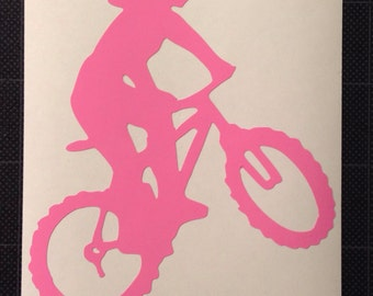 Mountain Biking Woman Vinyl Decal Girl MTN biking mtb FREE SHIPPING