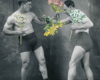 Boxing Art Print, Vintage Collage, Peace fighters, Boxing Fan Gift, Boxers in Shorts, Ready to Frame, Matted Artwork