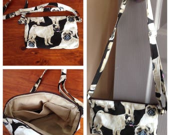 Handbag - Pug print handbag 23 cm x 14 cm, fully lined with an adjustable strap. Pug lover, Gift for her, Purse, Casual bag, Evening bag.