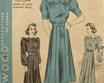 """Marie Wilson Hollywood 1702 Vintage 1940s Dress Sewing Pattern One-Piece Frock Gathered Blouse Top Long/ Short Sleeves Unprinted Bust 32"""""""
