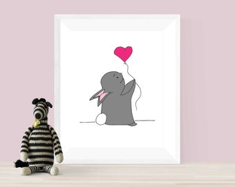 Baby Rabbit with Heart balloon Printable | Bunny Wall Art Downloadable | Cute Wall Art | Bunny Printable | Children's Wall Art | Bunny Print