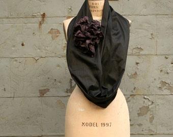 Black Silk Infinity Scarf, Ruffle Scarves, Flower, Wedding, Pretty