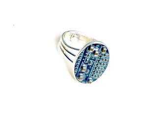 Blue motherboard ring adjustable computer geek cyberpunk silver plated costume jewelry unusual tech