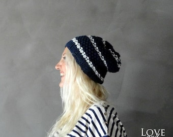 Sale Slouchy Beanie / Navy White Beanie / Striped Beanie / Slouchy Hat - Mens Winter Beanie / Womens Beanie / Winter Hat- Knit Hat / Gift fo