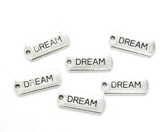 Bulk 25 Pcs Dream Charms Antique Silver Tone 20x8mm - YD0903