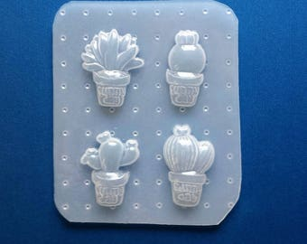 Cactus Mold, Resin Cactus Mold, Plastic Cactus Mold, Plant Mold, Jewelry Mold, Phone Case Supplies, Leaf Mold, Kawaii Mold, Decoden Mold