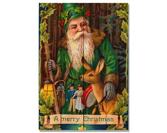 Forest Santa Christmas Art, Nativity Festive Wall Hanging Decor, Christmas Santa (WFS)