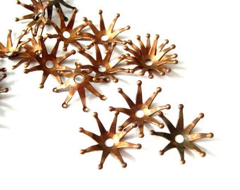 8 Flower cap beads, metal. vintage, 16.5mm, RARE