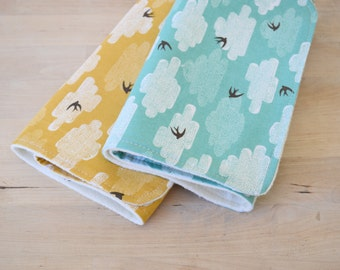 Organic Burp Cloths Set of 2 in Free as a Bird Print - Gender Neutral Baby Shower, Newborn Gift