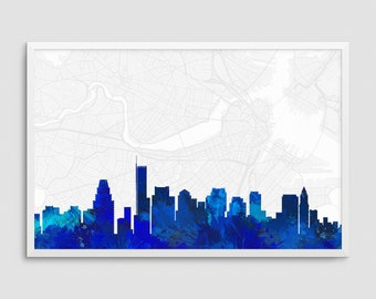 Boston Massachusetts Cityscape and Street Map Blue Watercolor Art Print Office or Home Wall Decor