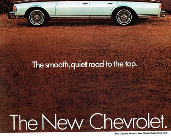 1979 Advertisement Chevy Caprice Sedan Silver Classic Custom Two Tone Silver Black 70s 80s Muscle Car Smooth Chevy Garage Wall Art Decor