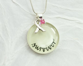Breast Cancer Survivor Jewelry - Cancer Awareness Necklace, Survivor Necklace & Ribbon Charm, Meaningful Gift, Unique Handmade Jewelry